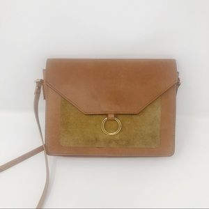 ASOS Tan Leather Suede Gold Ring Crossbody